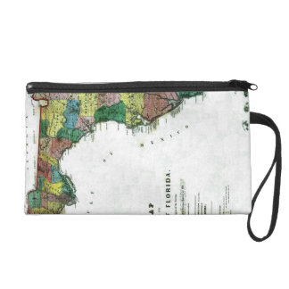 1856 Map of the State of Florida by Columbus Drew Wristlet Clutch