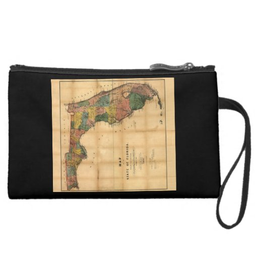 1856 Map of the State of Florida by Columbus Drew Wristlet Purses
