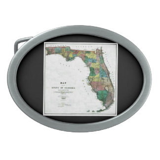 1856 Map of the State of Florida by Columbus Drew Oval Belt Buckle