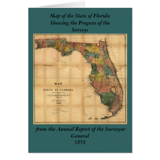 1856 Map of the State of Florida by Columbus Drew Greeting Card