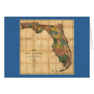 1856 Map of the State of Florida by Columbus Drew Greeting Cards
