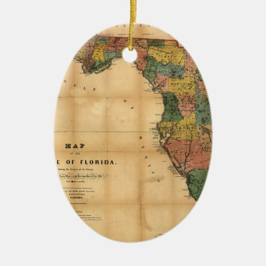 1856 Map of the State of Florida by Columbus Drew Ceramic Ornament