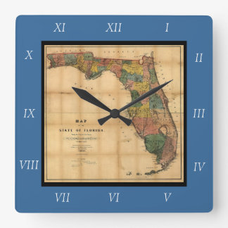 1856 Map of the State of Florida by Columbus Drew Wall Clock