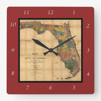1856 Map of the State of Florida by Columbus Drew Clock