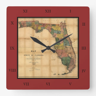 1856 Map of the State of Florida by Columbus Drew Clocks