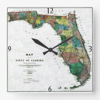 1856 Map of the State of Florida by Columbus Drew Square Wall Clock