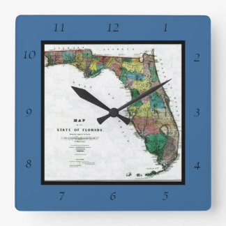 1856 Map of the State of Florida by Columbus Drew Square Wallclocks