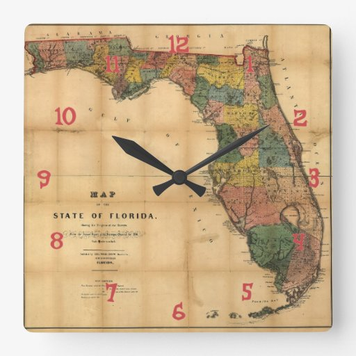 1856 Map of the State of Florida by Columbus Drew Square Wallclock