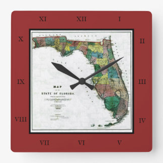 1856 Map of the State of Florida by Columbus Drew Square Wall Clocks