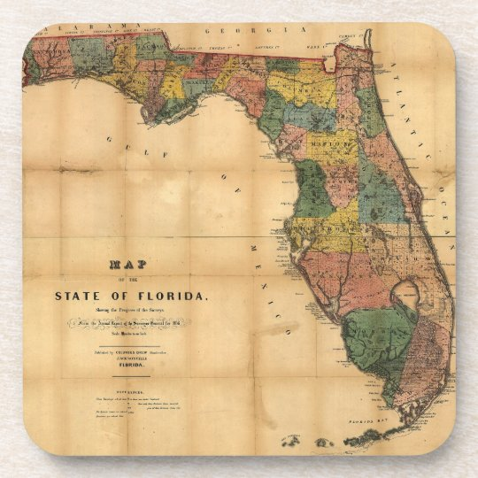 1856 Map of the State of Florida by Columbus Drew Coaster