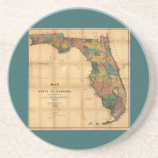 1856 Map of the State of Florida by Columbus Drew Beverage Coasters