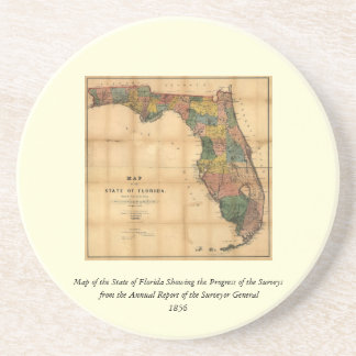 1856 Map of the State of Florida by Columbus Drew Drink Coaster