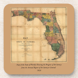 1856 Map of the State of Florida by Columbus Drew Beverage Coaster