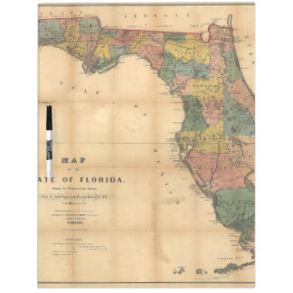 1856 Map of the State of Florida by Columbus Drew Dry Erase Boards
