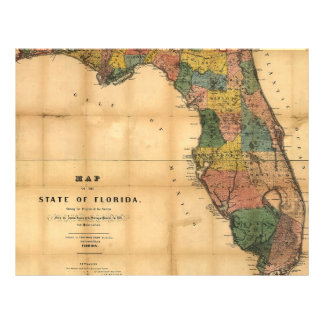 1856 Map of the State of Florida by Columbus Drew Full Color Flyer