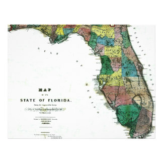 "1856 Map of the State of Florida by Columbus Drew 8.5"" X 11"" Flyer"