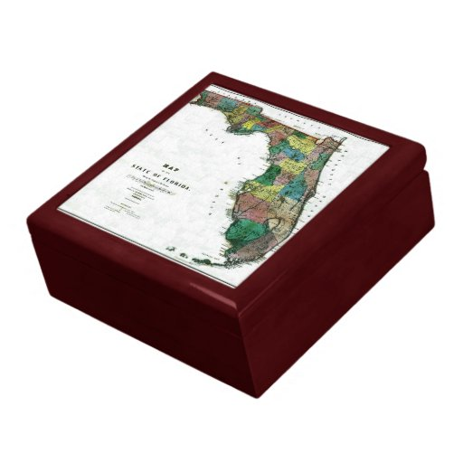 1856 Map of the State of Florida by Columbus Drew Keepsake Box