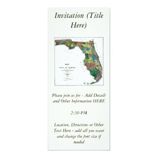 1856 Map of the State of Florida by Columbus Drew 4x9.25 Paper Invitation Card