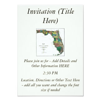 1856 Map of the State of Florida by Columbus Drew 4.5x6.25 Paper Invitation Card