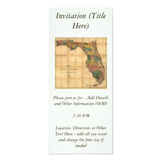 1856 Map of the State of Florida by Columbus Drew Personalized Invite