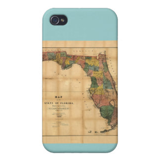 1856 Map of the State of Florida by Columbus Drew Case For iPhone 4