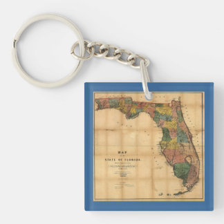 1856 Map of the State of Florida by Columbus Drew Acrylic Key Chains
