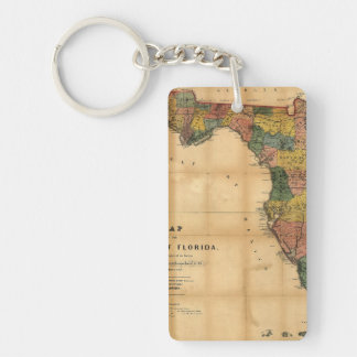 1856 Map of the State of Florida by Columbus Drew Acrylic Key Chain
