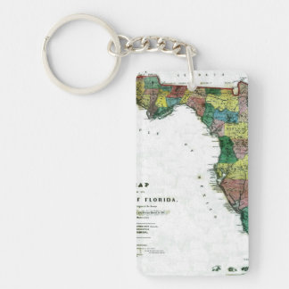 1856 Map of the State of Florida by Columbus Drew Double-Sided Rectangular Acrylic Keychain