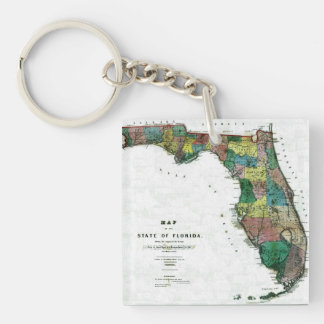 1856 Map of the State of Florida by Columbus Drew Double-Sided Square Acrylic Keychain