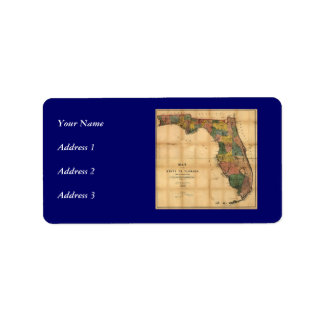 1856 Map of the State of Florida by Columbus Drew Personalized Address Label