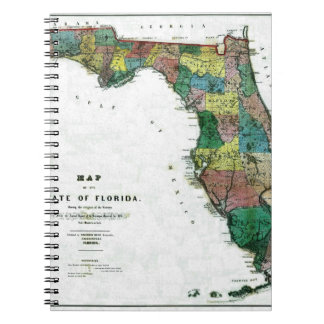 1856 Map of the State of Florida by Columbus Drew Notebook