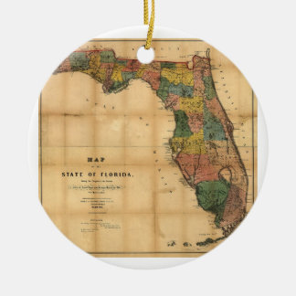 1856 Map of the State of Florida by Columbus Drew Ornaments