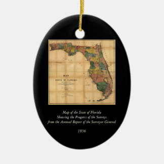 1856 Map of the State of Florida by Columbus Drew Christmas Ornament