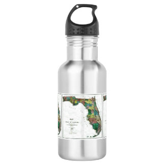 1856 Map of the State of Florida by Columbus Drew 18oz Water Bottle