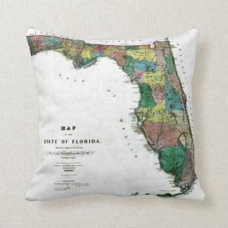 1856 Map of the State of Florida by Columbus Drew Pillows