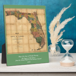 1856 Map of the State of Florida by Columbus Drew Display Plaques