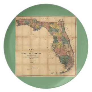1856 Map of the State of Florida by Columbus Drew Party Plate