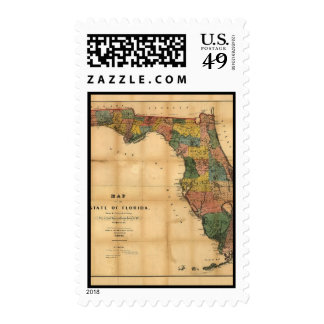 1856 Map of the State of Florida by Columbus Drew Postage Stamp