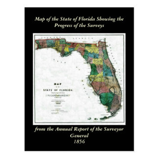 1856 Map of the State of Florida by Columbus Drew Postcard