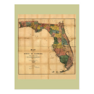 1856 Map of the State of Florida by Columbus Drew Post Cards