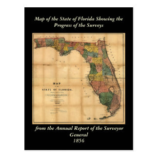 1856 Map of the State of Florida by Columbus Drew Postcards