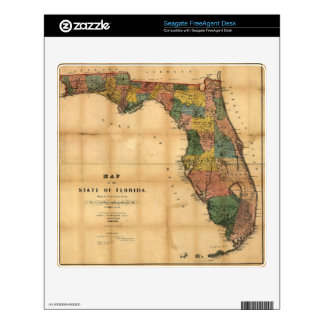 1856 Map of the State of Florida by Columbus Drew FreeAgent Desk Skins