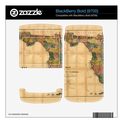 1856 Map of the State of Florida by Columbus Drew Skins For BlackBerry Bold