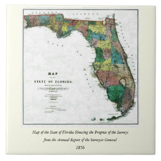 1856 Map of the State of Florida by Columbus Drew Large Square Tile