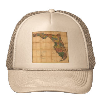 1856 Map of the State of Florida by Columbus Drew Trucker Hat