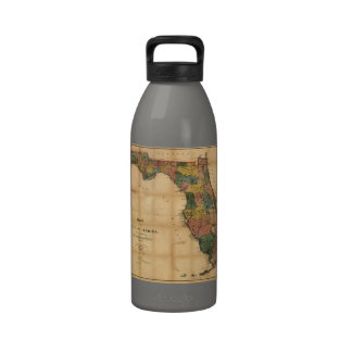 1856 Map of the State of Florida by Columbus Drew Drinking Bottle