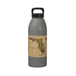 1856 Map of the State of Florida by Columbus Drew Water Bottles