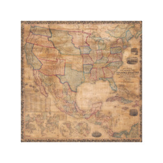 1856 Mitchell Wall Map United States Canvas Print