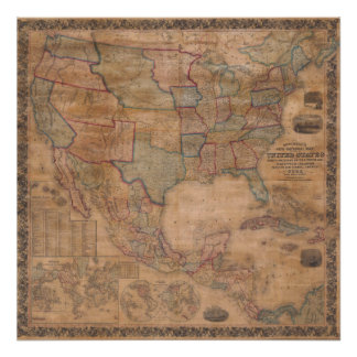 1856 Mitchell Wall Map United States Poster