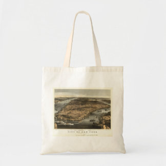 1856 New York City NY Birds Eye View by Currier Budget Tote Bag